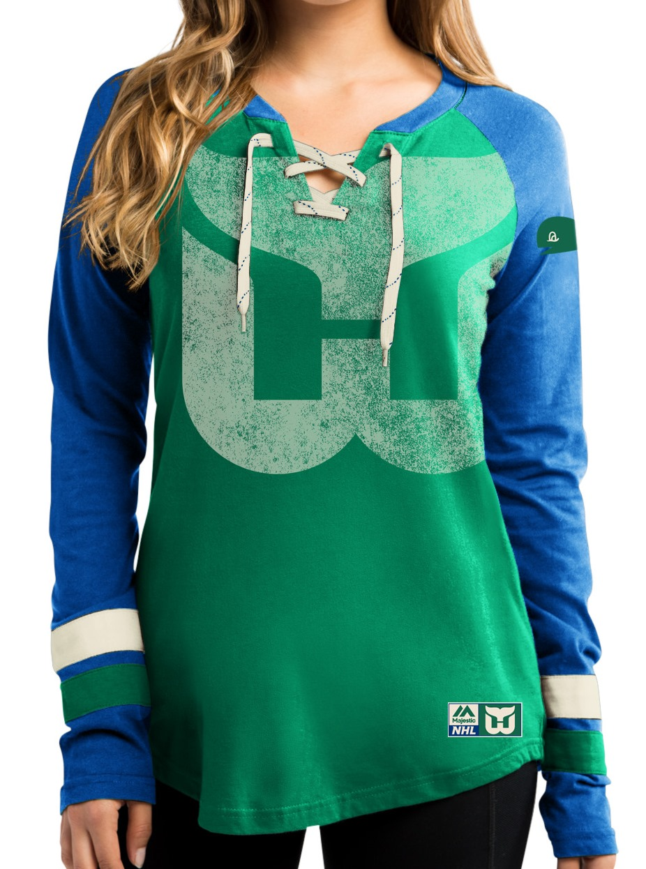 "Hartford Whalers Women's NHL Majestic ""Vintage Hip Check"" Lace Up V-Neck Shirt"