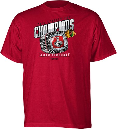 Chicago Blackhawks 2013 Stanley Cup Champions Reebok Champions Ring T-Shirt