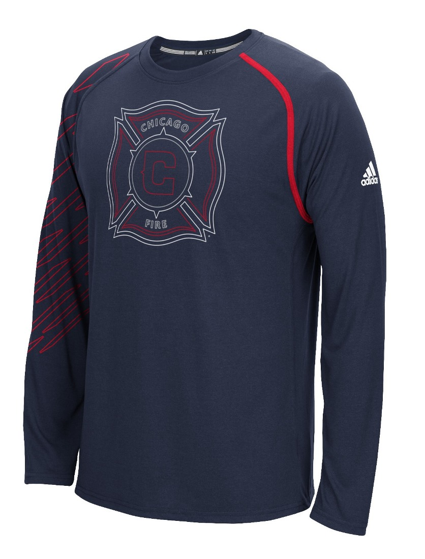 "Chicago Fire Adidas MLS ""Frequency"" Performance Long Sleeve Jersey Top"