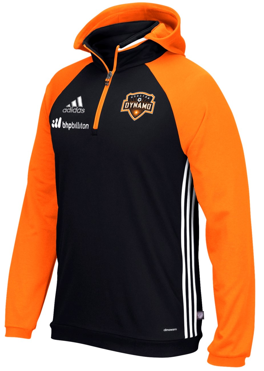 "Houston Dynamo Adidas MLS ""Travel"" Men's On Field Pullover Hooded Sweatshirt"