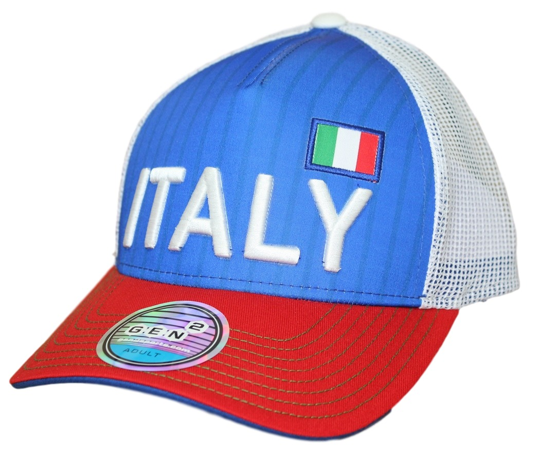 "Team Italy World Cup Soccer Federation ""Jersey Hook"" Structured Mesh Back Hat"