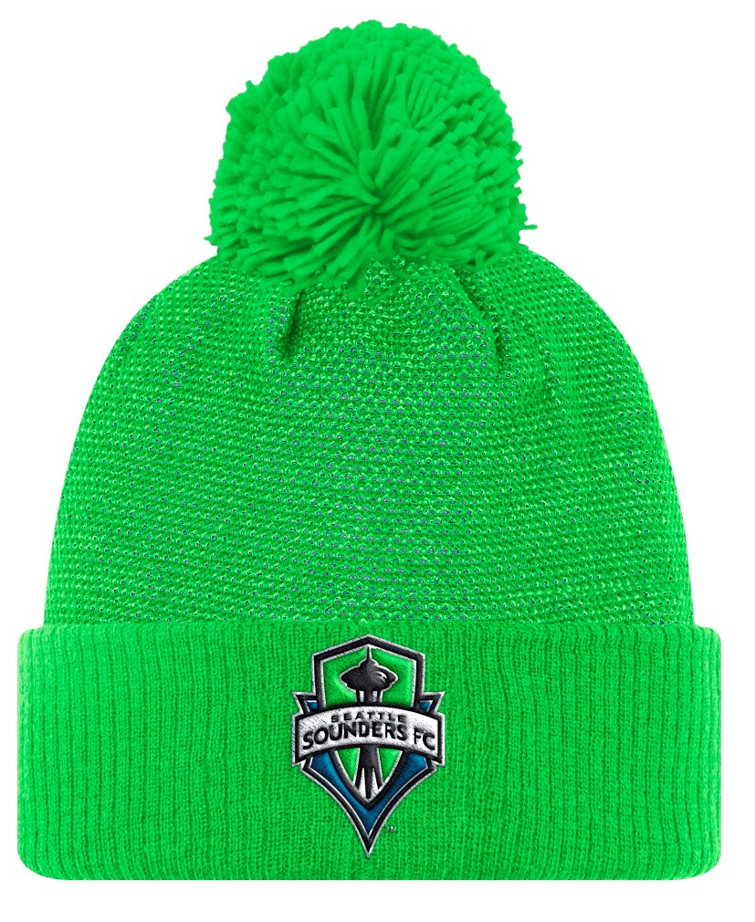 Seattle Sounders Adidas MLS 2017 Authentic Cuffed Knit Hat with Pom