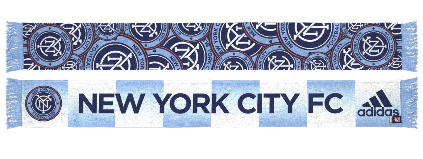 "New York City FC Adidas MLS ""Repeating Logo"" Polyester Team Scarf"