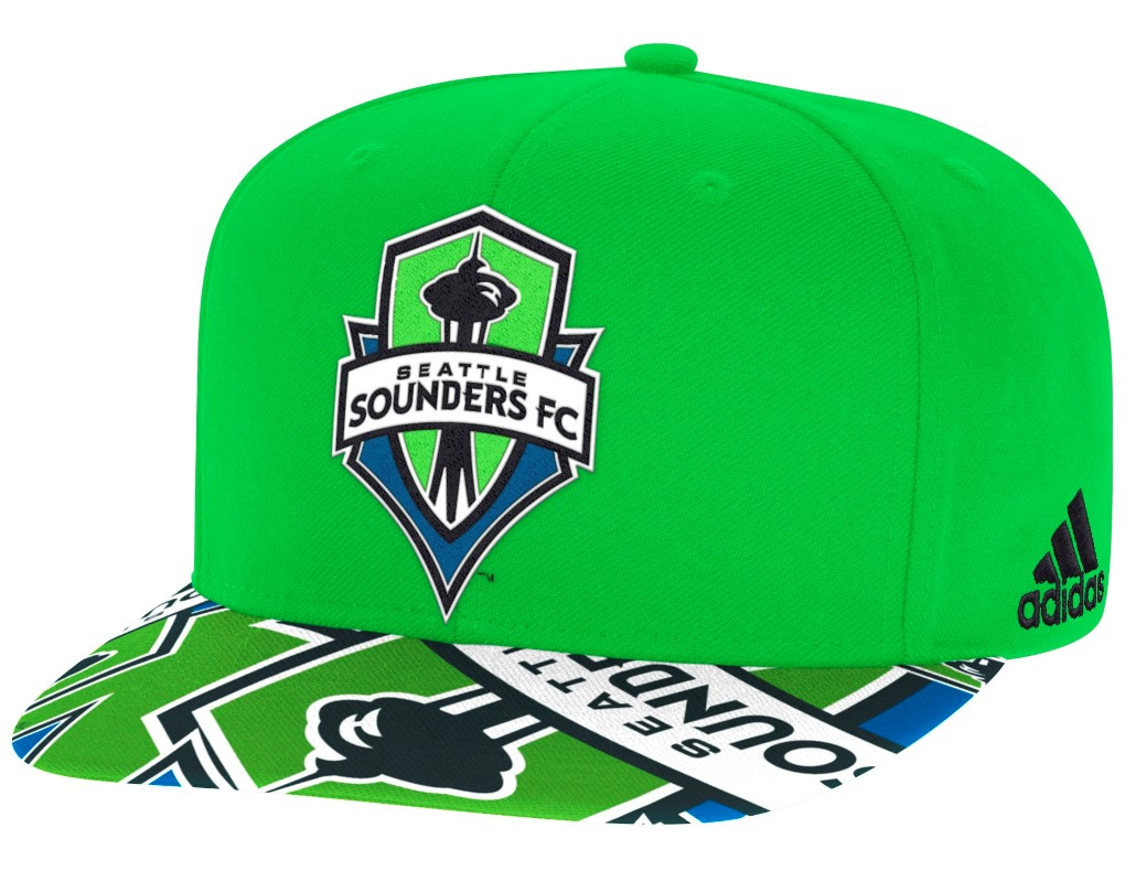 Seattle Sounders Adidas MLS Layered Logo Embroidered Snap Back Hat
