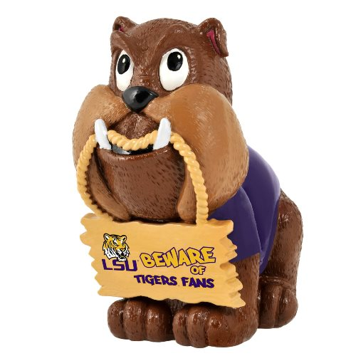 LSU Tigers NCAA Bulldog Holding Sign Figurine