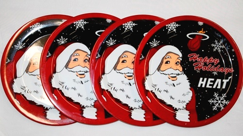 "Miami Heat NBA Holiday 10"" Plastic Plate - 4 Pack"