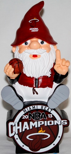 Miami Heat 2013 NBA Champions Gnome Sitting On Logo