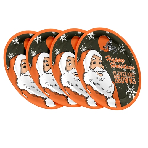 "Cleveland Browns NFL Holiday 10"" Plastic Plate - 4 Pack"
