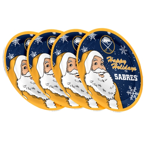 "Buffalo Sabres NHL Holiday 10"" Plastic Plate - 4 Pack"