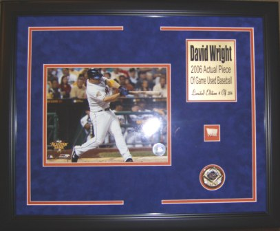David Wright Mets 8x10 Framed w/Game Used Baseball Piece